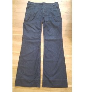 Three button fly, flare denim slacks